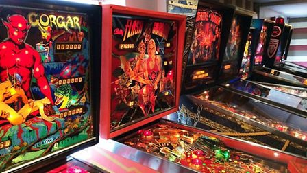 Some of the 12 pinball machines which were in play