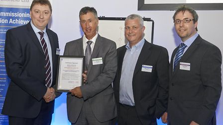Austen Adams, Vic Carlill, Stainless Metalcraft quality manager Martin Johnson and Sellafield supply