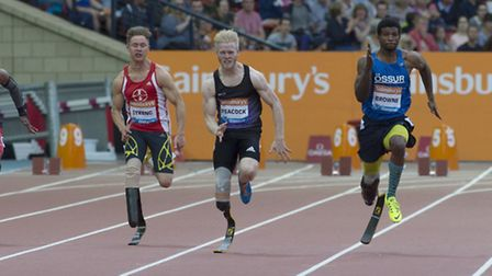 Jonnie Peacock has a great start with the quickest reaction time of all the 100m T44 competitors (0.