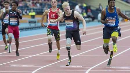 New season's best time and second place in the Men's T44 100m For Jonnie Peacock, at Glasgow's Sains