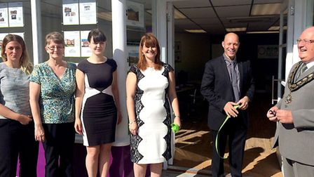 Kit Owen Mayor of March opened the new premises of Optima property at 31 High Street March. Left: St