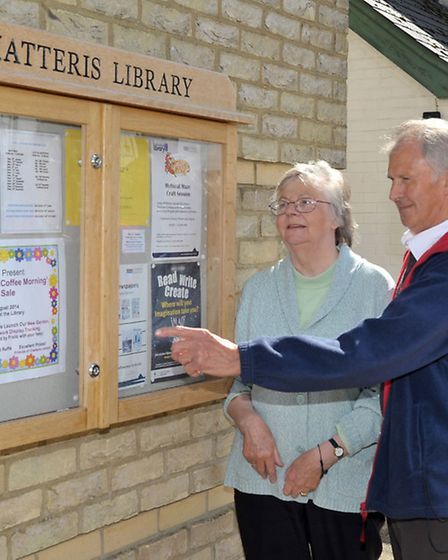 New noticeboard and garden at Chatteris Library. Margaret and Ray Allen take a look at the new notic