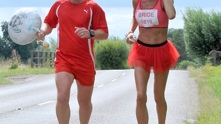 Sharon Critchell ran to her wedding from Whittlesey to Thorney. Picture: Steve Williams.