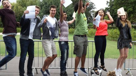Jumping for joy at the Neale-Wade Academy on A-level results day.