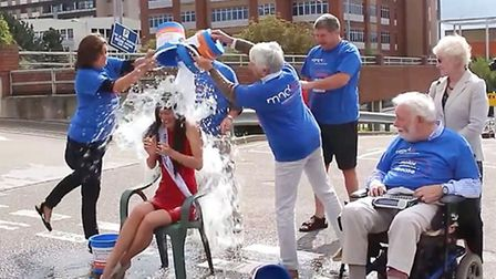 The reigning Miss England 2014, Carina Tyrrell, completed the 'Ice Bucket Challenge' at Addenbrooke'