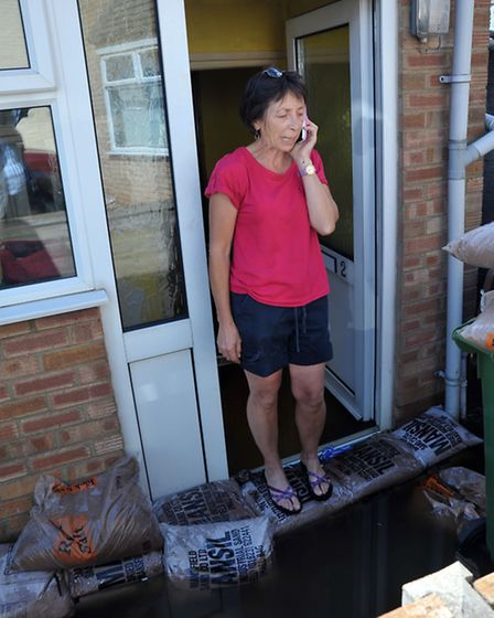 March floods. The day after. Connie Harris with her flooded home in Gold street.Picture: Steve Willi