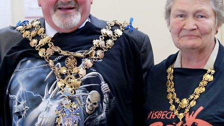 The 'hip' mayor of Wisbech, Councillor Michael Hill with his Jane at Wisbech Rock Festival (Photo by