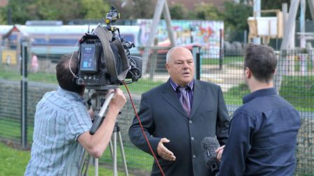 Cllr Paul Clapp being interviewed by the BBC film crew at the Waterlees Spinney play area this week.