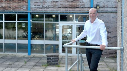 George Campbell Leisure Centre. March.Phil Hughes, Head of Leisure services at the spot where new ch