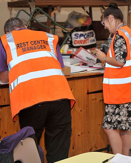 Emergency rest centre, St Johns hall March. Rest centre Managers.Picture: Steve Williams.