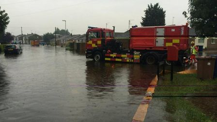 Cambs fire photos of flooding in and around March