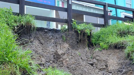 Part of the riverbank collapsed. Picture: Steve Williams.