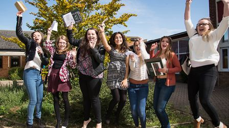 Ely College pupils celebrate their GCSE results.
