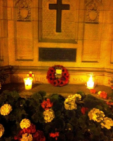 A 'lights out' service was held at Ely's war memorial