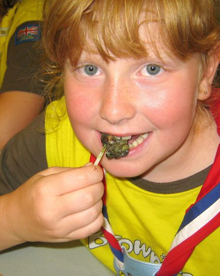 4TH March Brownies hop across to the channel to mark the big Brownie birthday. Ashleigh sampling sna