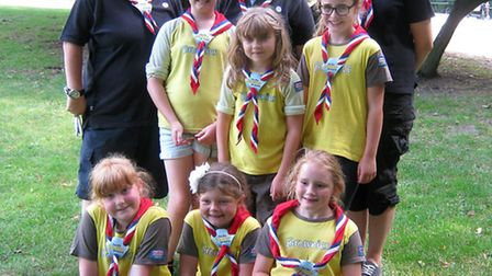 4TH March Brownies hop across to the channel to mark the big Brownie birthday. The group at Château