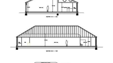 Proposed drawing for new village hall, Christchurch.