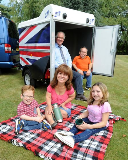 Harry Potter star Warwick Davis, along with his wife Samantha and children Annabelle and Harrison,