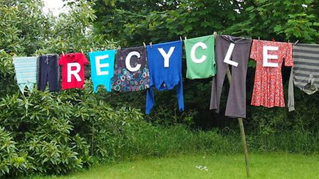 Line of clothes for recycling. RECAP: New campaign to encourage textile recycling in Cambridgeshire.