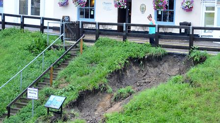 A section of the river bank collapsed. Picture: Steve Williams.