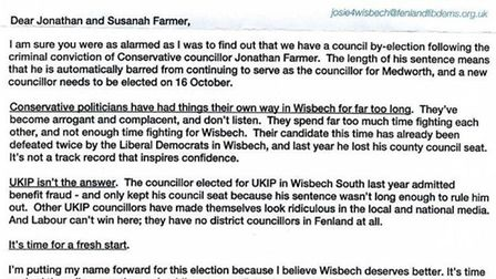 The letter sent to Jonathan and Susanah Farmer by Lib Dem candidate