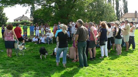 Residents gather at Estover Playing Field.