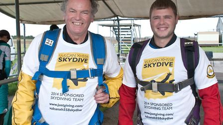 Vulcan XH558 Skydive. Malcolm Thomas and Jason Longden suited up waiting their turn.