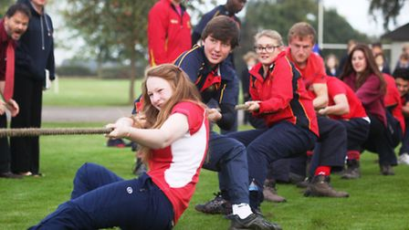 The annual tug of war contest at Wisbech Grammar School. The picture shows Clarkson house in action,