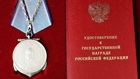 The Ushakov medal, collected from the Russian Embassy.