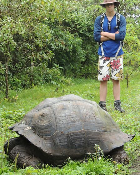 Lee Clarke with a giant tortoise. Picture: STUART MILLER.
