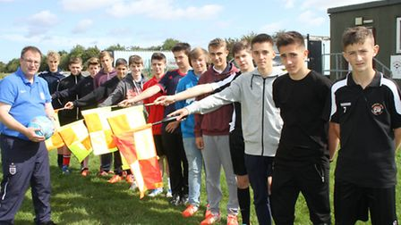 Robert Windle with young refereeing hopefuls.