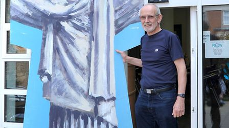 Jon Wicks with Christ the Redeemer stage prop from The Rose fair carnival float. Picture: Steve Will