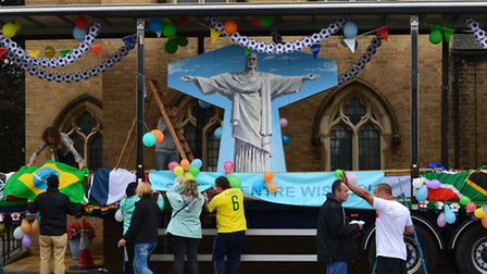 The Rosmini Centre float displaying Christ The Redeemer for a Brazil themed display