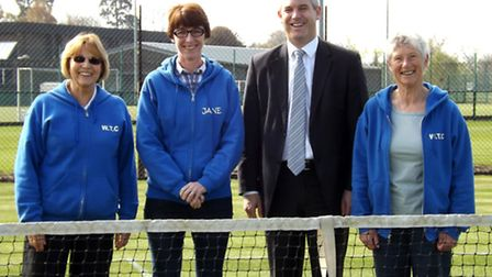 Sue Pitcher, Jane Page and Sue Beel (club chairman), at the tennis club, which is set to get new all