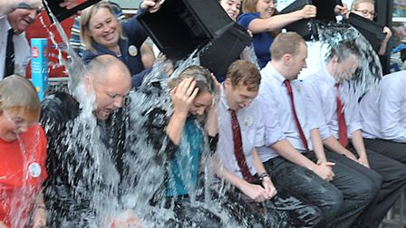 Tesco March, Managers done the ice bucket challenge. Picture: Steve Williams.