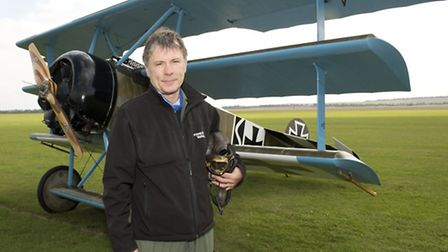 Bruce Dickinson, lead singer of Iron Maiden and pilot for The Great War Display Team, flew into IWM
