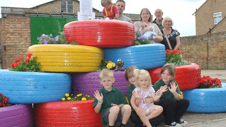 Tyre display for Anglia in Bloom judges at Benwick -