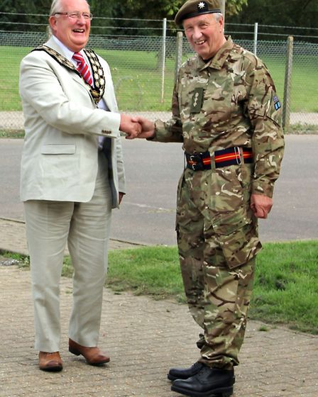 Cllr Kit Owen, the mayor of March, with lord lieutenant Hugh Duberly.