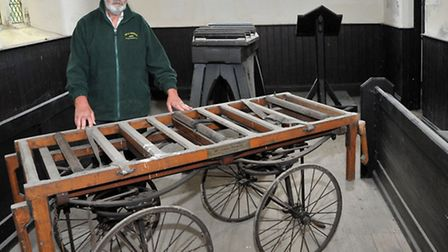 Fenland Heritage open days. Station rd Cemetery Chapel. Peter Wright with the 1914 Hand cart and Fun
