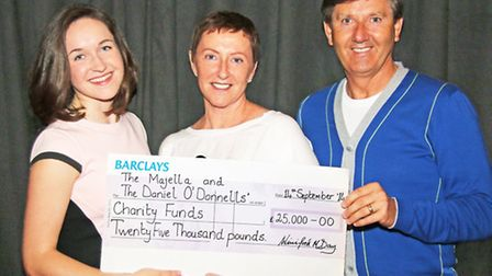 Daniel O Donnell with the charity cheque