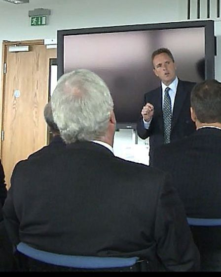 Peter Simpson, chief executive Anglia Water, giving his presentation to the Wisbech 20/20 Vision sum