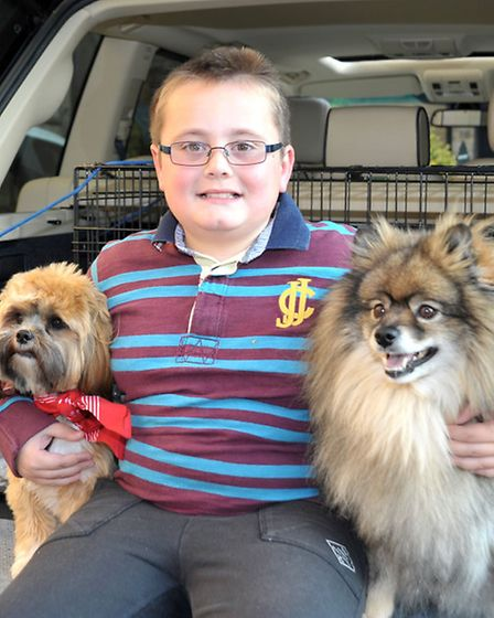 Pet Service at St. Peter's Church March. Brandon Kingston with Pets Amber and Tilley.Picture: Steve