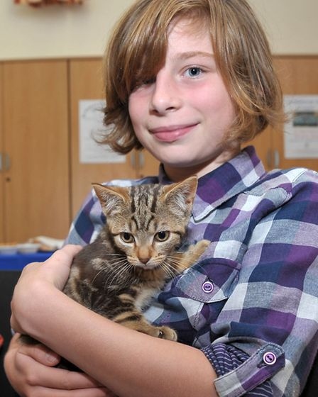 Pet Service at St. Peter's Church March. Rosie Beningfield with Hazel the Kitten.Picture: Steve Will
