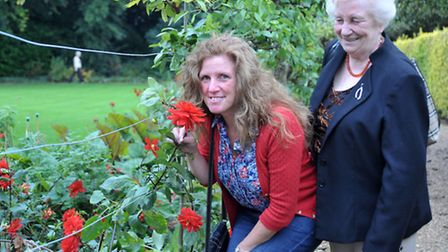 Flower festival at Peckover House, Wisbech. Visitors Julie James and Lorna Hickling in the gardens o