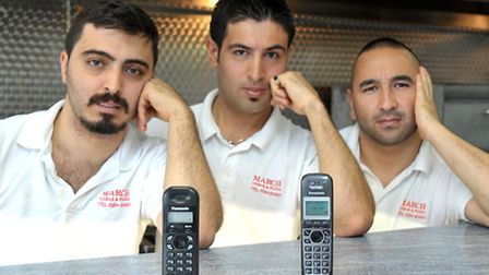 March Kebab and Pizza had no phones as lines messed up. Left: Kadir Akcan, Serdar Inci and Çihan And