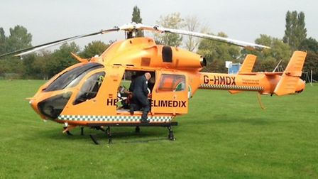 The Magpas Helimedix helicopter landed on the park off Robingoodfellow's Lane, March. Picture: RYAN