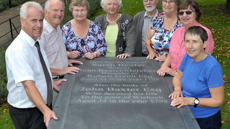 Replacement memorial slab on Baxters' tomb at St Peter's church gardens, Wisbech. Left: Bob Ollier,D
