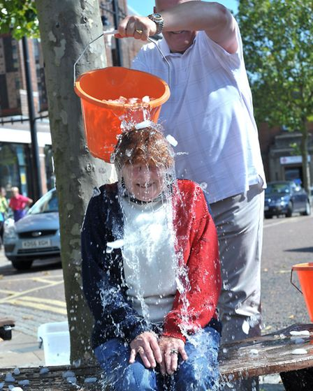 Ice Bucket Challenge. March market place. Cllr Jan French.Picture: Steve Williams.