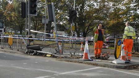 What remains of the pedestrian crossing following the collision