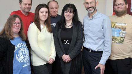Joanne Davis who is nominated for Headway national bravery award by David Lynch at Headway. Centre: